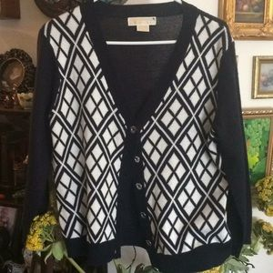 Michael Kors black white button cardigan sweater